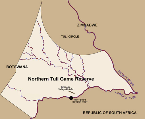 Map of Northern Tuli Game Reserve